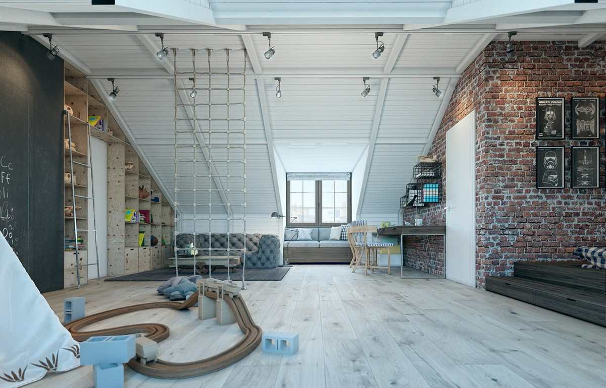 This incredible loft like room has rather adult design but is still amazing for a little boy