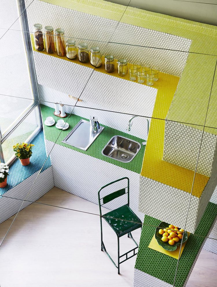 Tiny Modern Apartment Fully Covered With Mosaic Tiles
