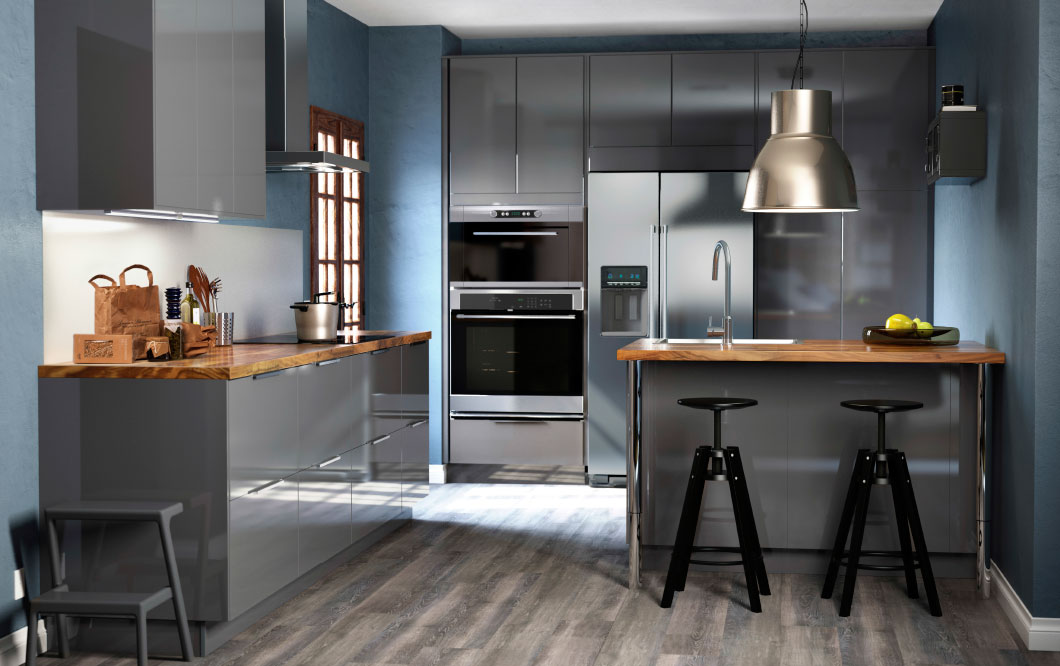 Dalfred bar stools in a modern kitchen