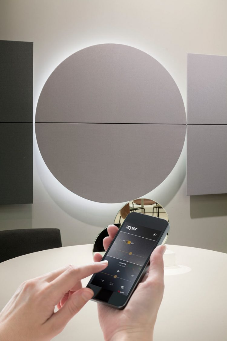 They're controlled via a smartphone app that lets you sync music or take calls and adjust the LED light levels