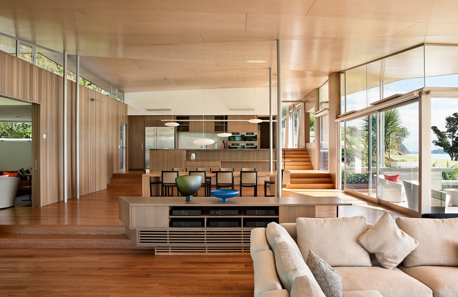 Totally clad with wood, Fold House looks very cozy