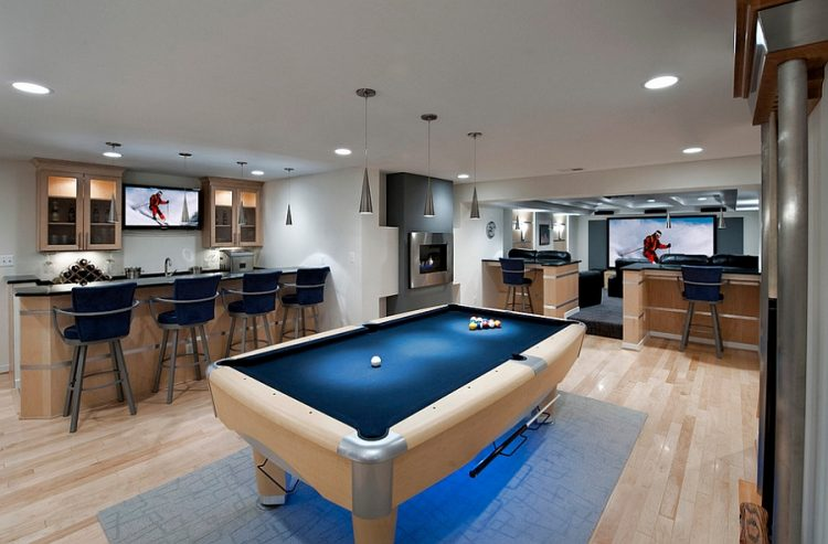Modern Basement Bar Inside A Party Zone