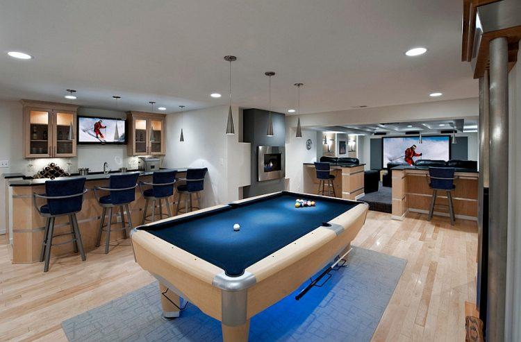 modern basement bar inside a party zone
