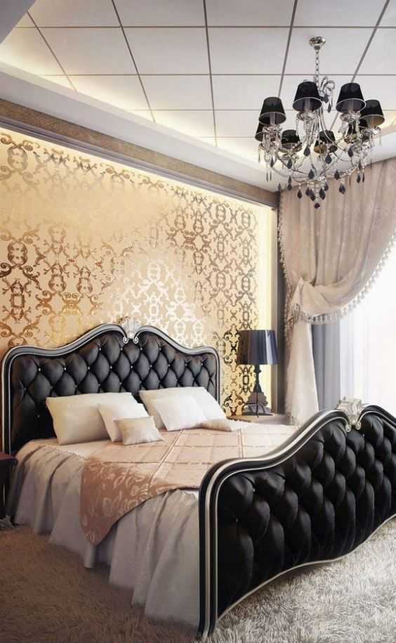 tufted black headboard