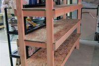 02 wooden basement sturdy shelving for bins