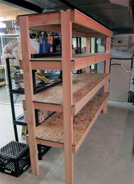 wooden basement sturdy shelving for bins
