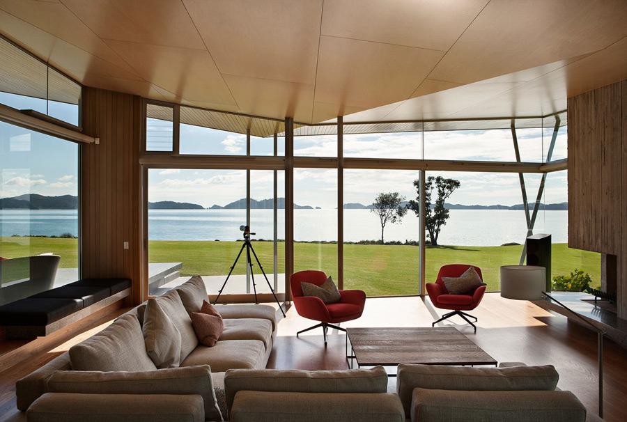 The interiors are centered around the striking seaside views