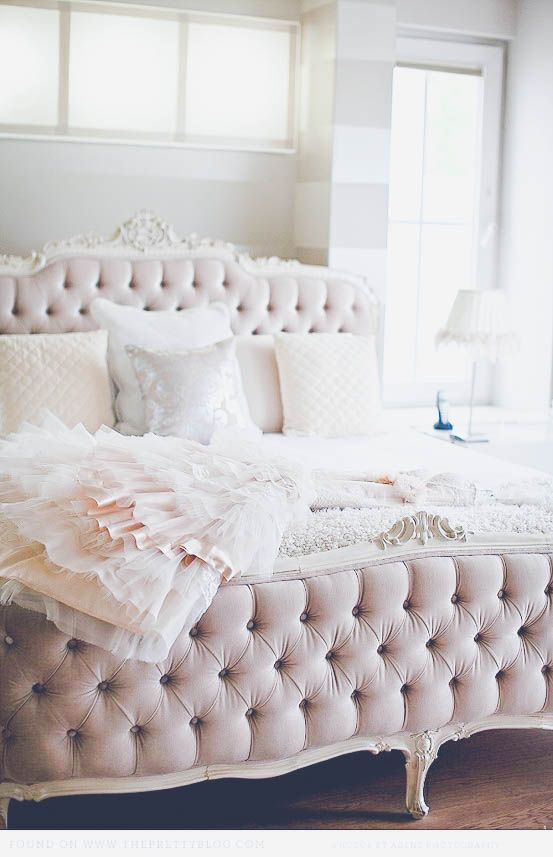 blush tufted feminine headboard