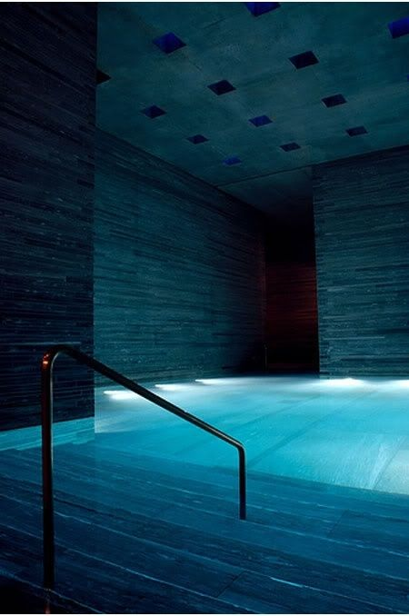 indoor pool with inside lighting