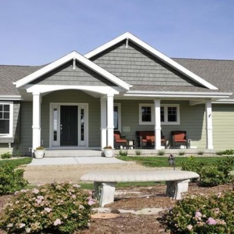 Picture of ranch styled house with a gable roof and gabled for Ranch home with porch