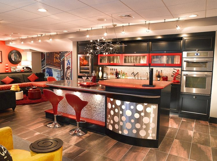 70s-inspired basement bar with red touches