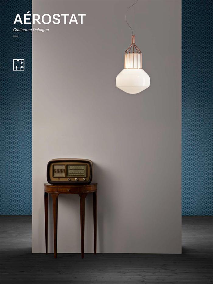 Aerostat is a mid-century modern hanging lamp