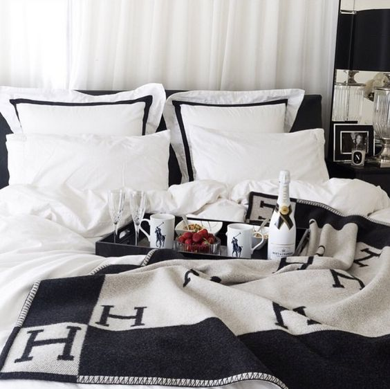 Lovely black and white monogram bedding