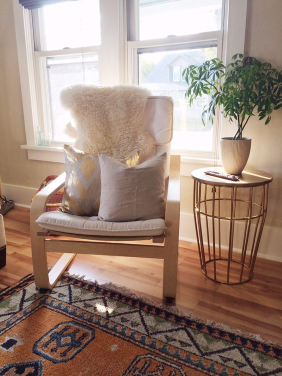 Off White Poang Chair With Pillows And A Fur Cover For A Living Room Part 93