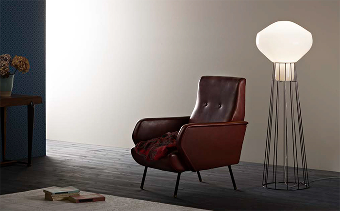 Aerostat is also available as a floor lamp with a grid stand