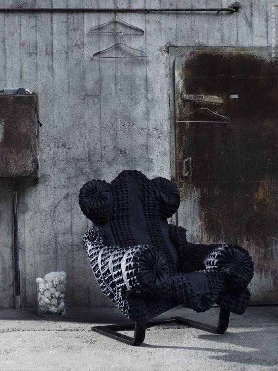black and soft moody reupholstered IKEA Poang
