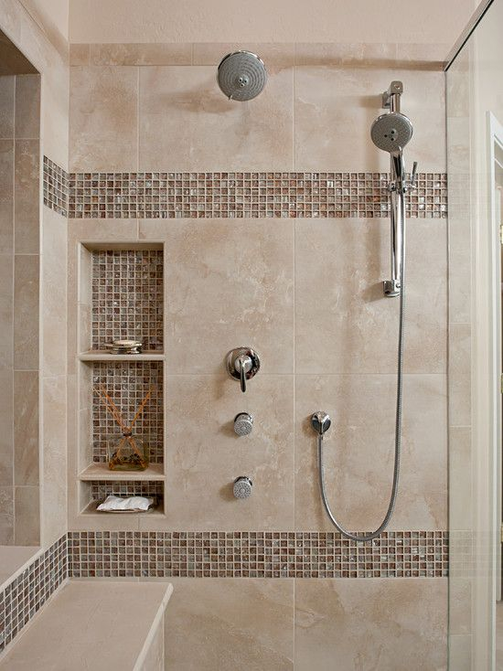 Marvelous Bathroom Tile Accent Ideas Part - 2: Marble Inspired Tiles With An Accent