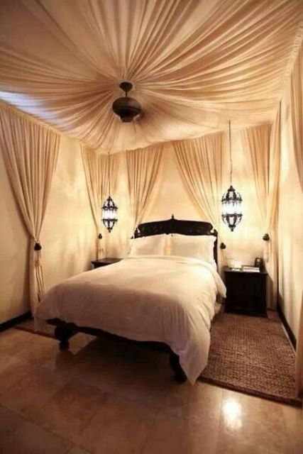 Morocco-style could add a touch of necessary coziness to a basement master bedroom