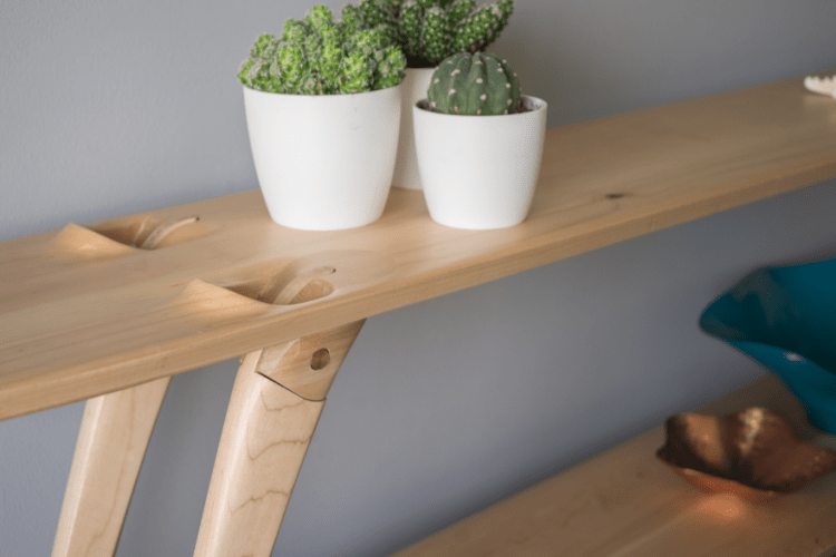The shelf looks very harmonious and sleek