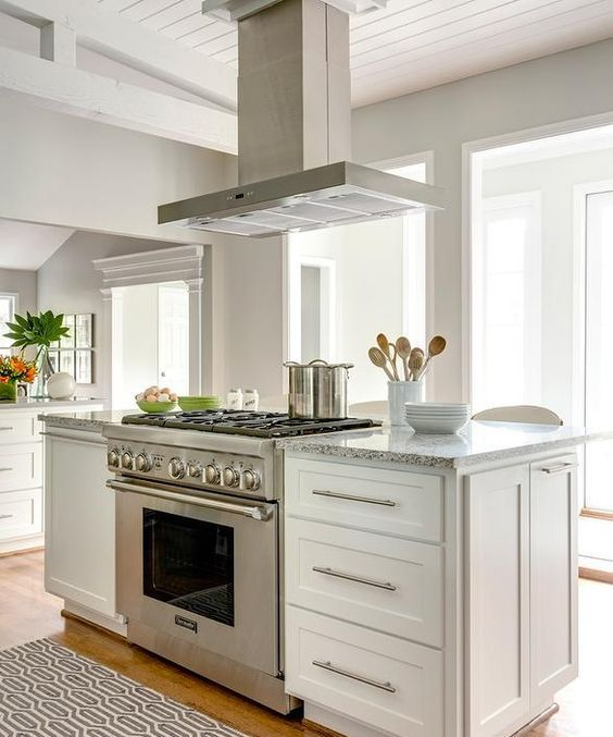 kitchen island with a cooker