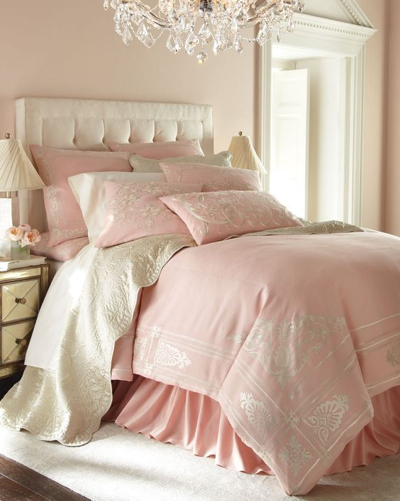 pink printed bedding