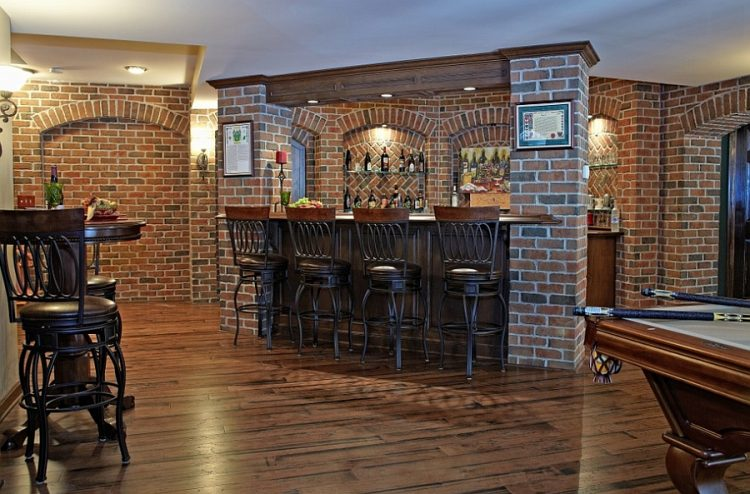 pub-styled basement bar