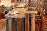 06 rustic kitchen clad with warm-colored wood