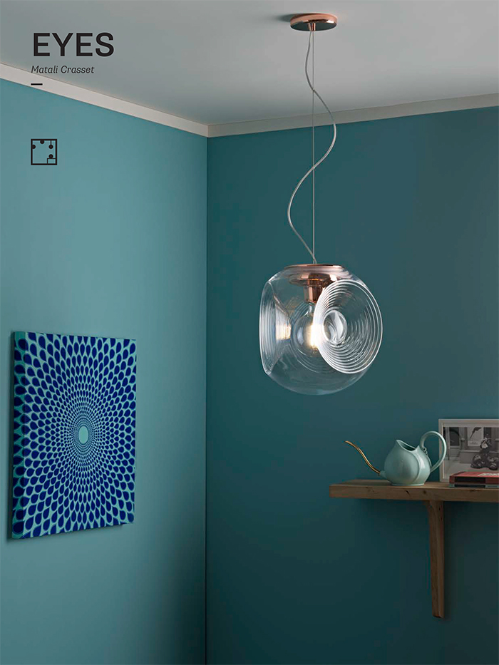 Eyes is a hanging glass lamp that resembles an eye with its shape