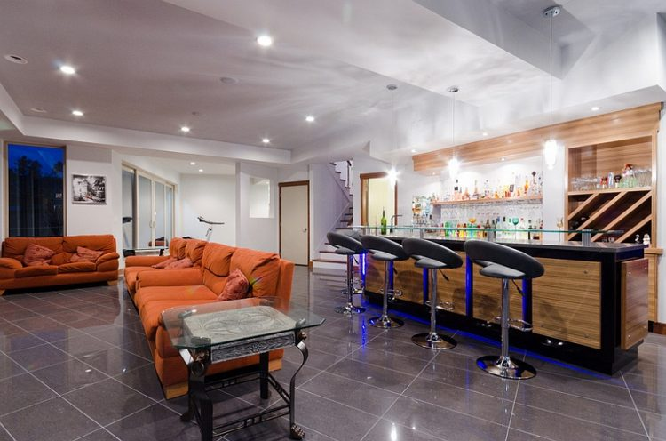 modern basement bar & 27 Stylish Basement Bar Décor Ideas - DigsDigs
