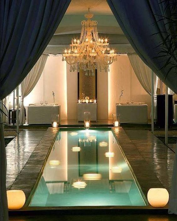 Picture Of Small Indoor Pool With Lamps Around And A