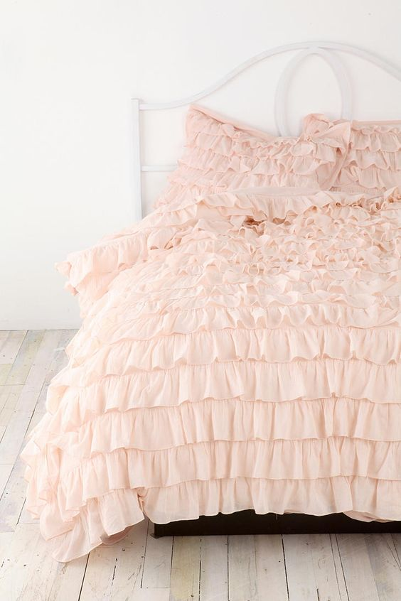 blush ruffle bedding