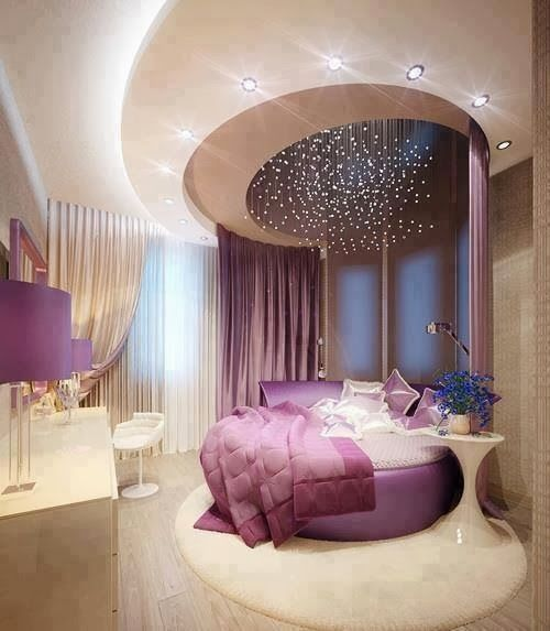 round purple bed