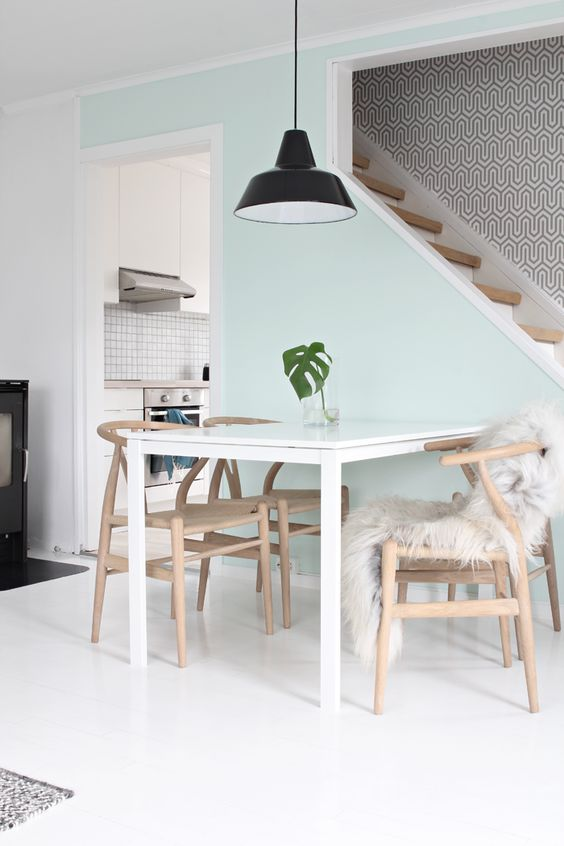 white Melltorp table looks cool with light-colored wooden chairs