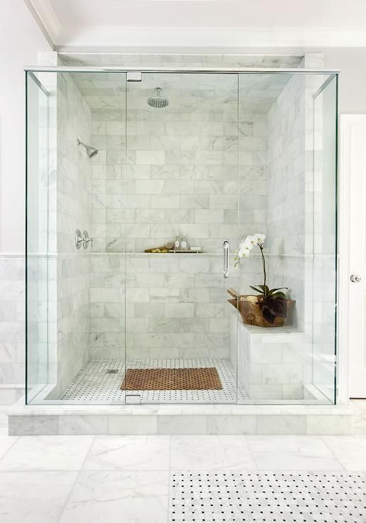 white marble shower tiles