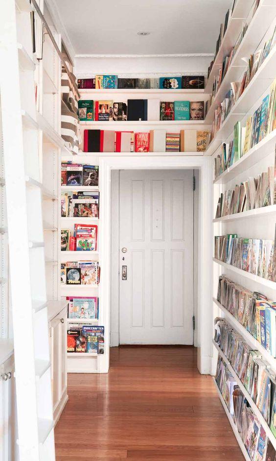 Ribba bookshelves above the doorway