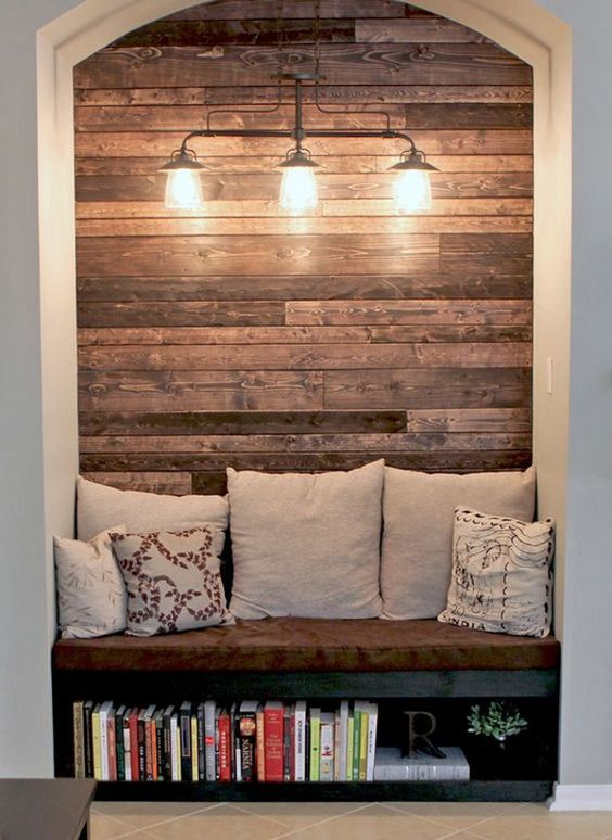industrial chandelier to enlight the reading nook