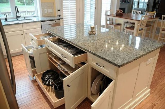 classic kitchen island with tableware storage