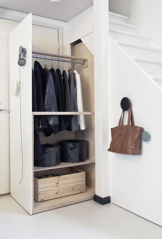 closet drawers under the stairs