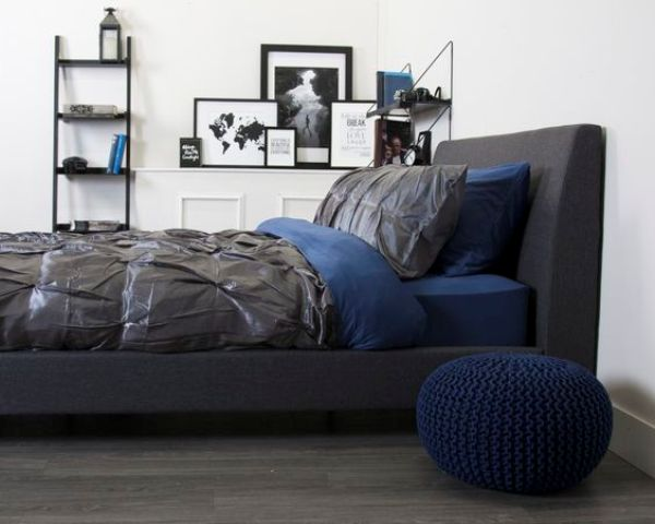 grey and blue bedding