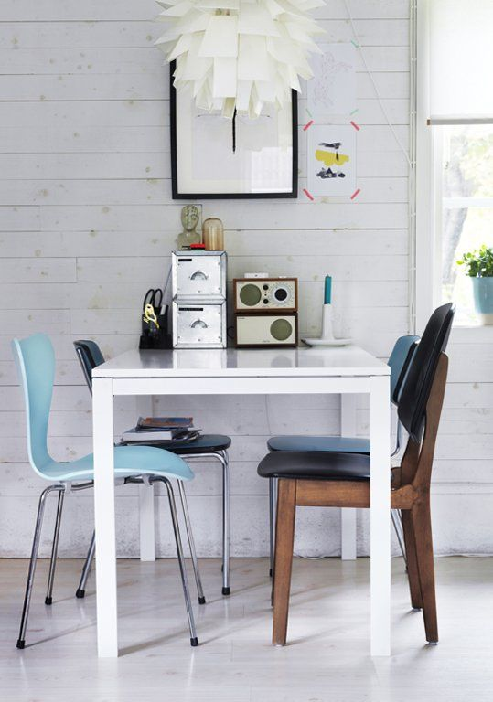 mid-century modern dining area with Melltorp table