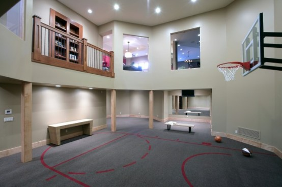 Basketball Court In A Basement (via houzz)