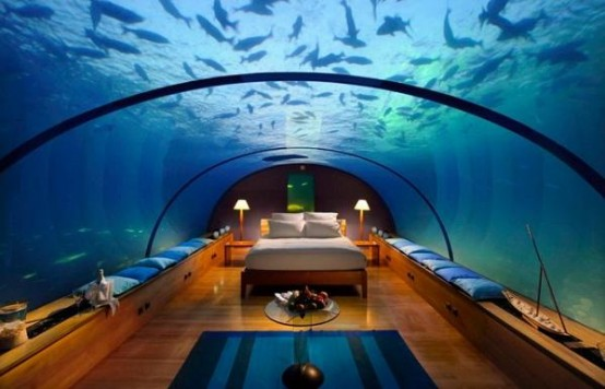 An Amazing Underwater Bedroom From Conrad Maldives Rangali Islands Resort (via conradhotels3)