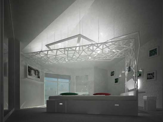 A Bedroom With A Complicated Canopy (via karako)
