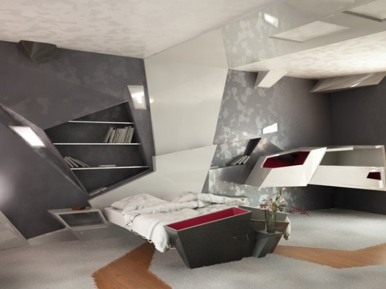 Futuristic Bedroom Design (via digsdigs)