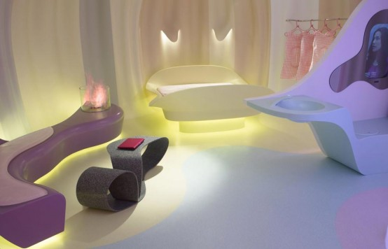 Corian Futuristic Bedroom By Karim Rashid (via digsdigs)