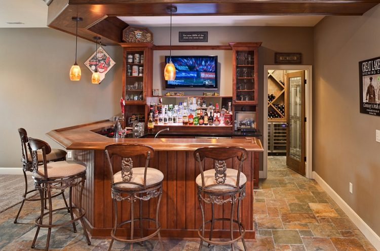Basement Bar With A Wine Cellar