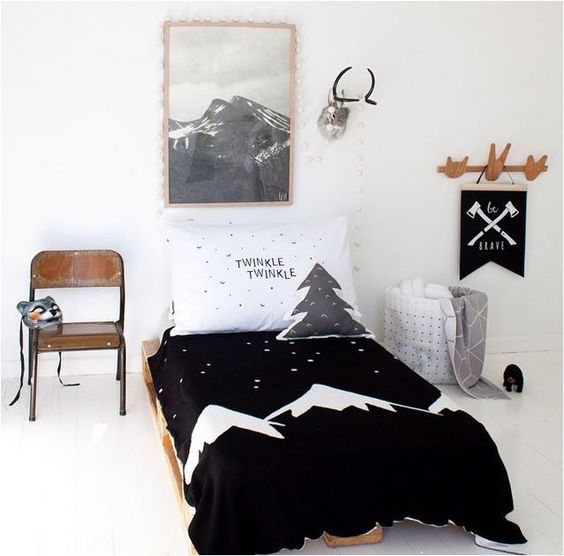 black and white graphic Scandi bedding