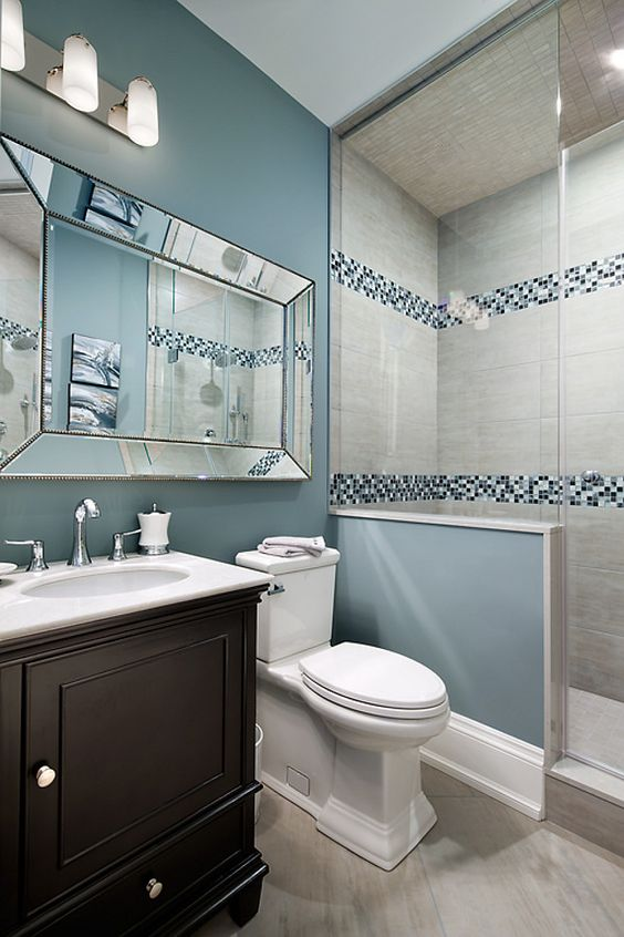 blue shades mosaic border tiles in the shower - Mosaic Bathroom Designs