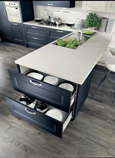 kitchen island with dishes and tableware storage