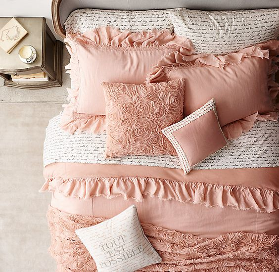 Amazing ruffled and rose vignette bedding